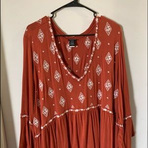 Torrid Burnt Orange Long Tunic Blouse Size 5 28/30